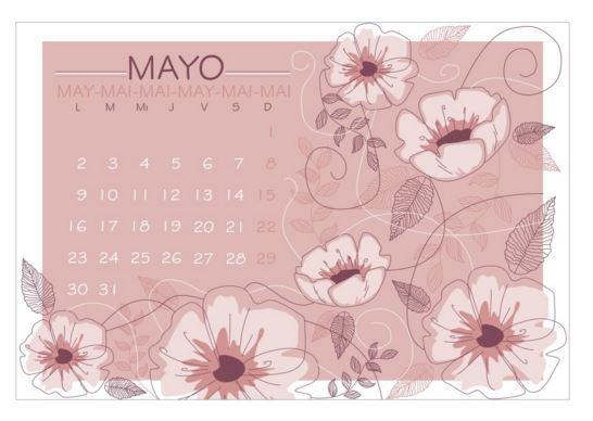 Calendario mayo 2016 con flores