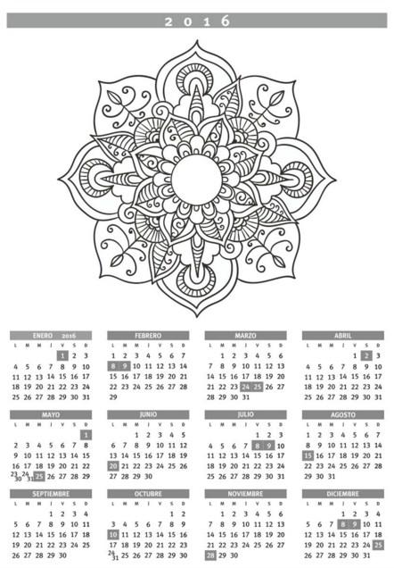 Calendarios 2016 para imprimir con mandalas