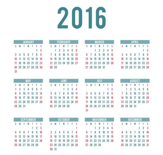 Calendarios 2016 para imprimir sencillos