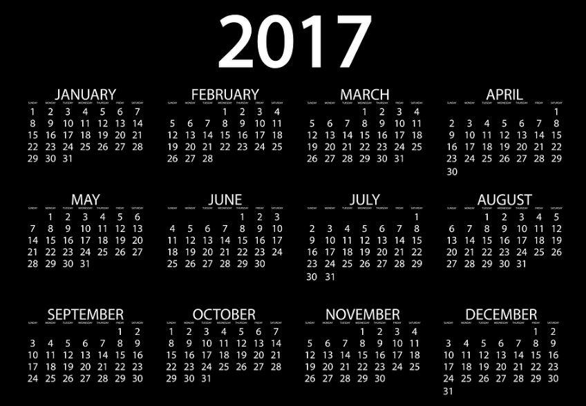 Calendarios 2017 gratis para imprimir