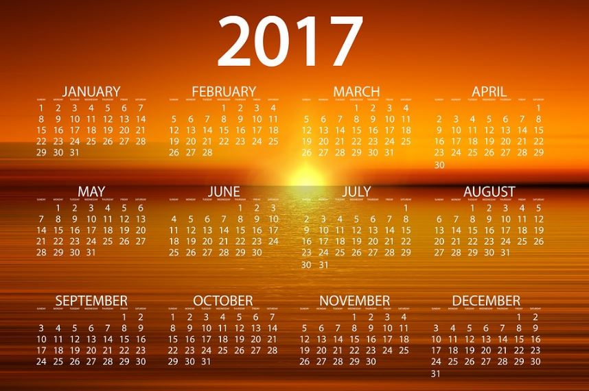 Calendarios 2017 que empiece en domingo