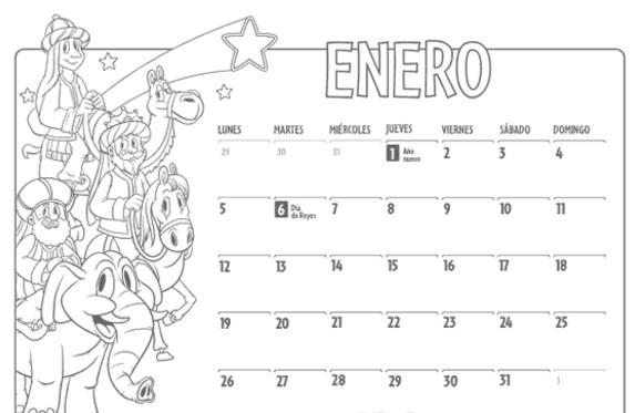 Calendarios enero 2016 para niños