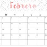 Calendarios febrero 2016 para imprimir