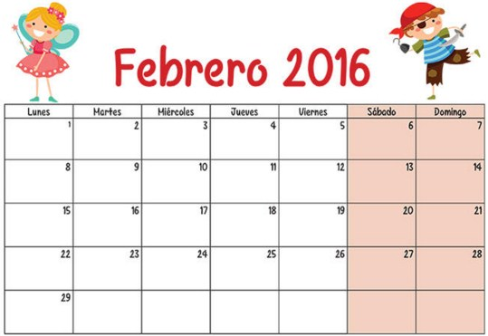 Calendarios febrero 2016 para niños
