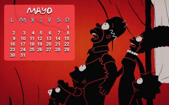 Calendarios mayo 2016 con Los Simpsons
