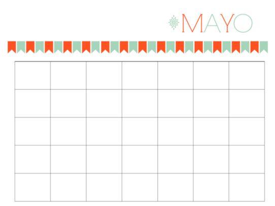 Calendarios mayo 2016 con espacio para escribir