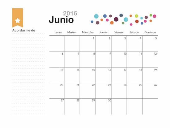 Calendarios mes de junio 2016 bonitos