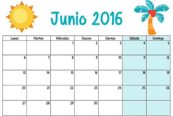 Calendarios mes de junio 2016 para imprimir