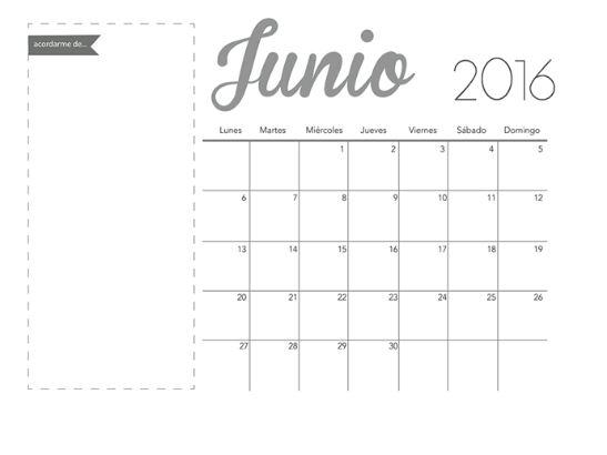 Calendarios mes de junio 2016 sobrios