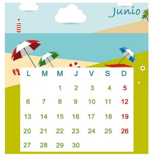 Calendarios mes de junio 2016