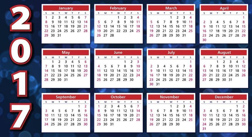 Cuantos dias tendra el 2017