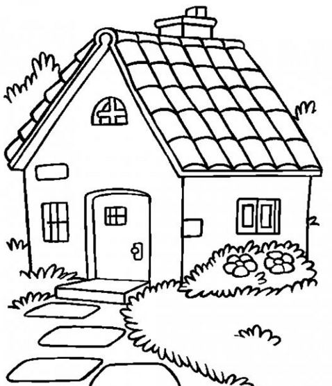 Dibujos de casas con chimenea para colorear