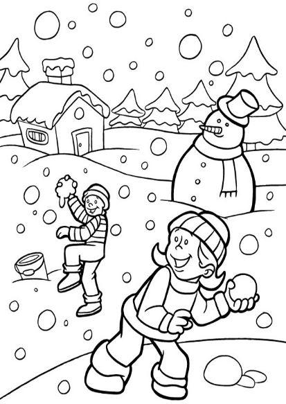 Dibujos de niños en invierno