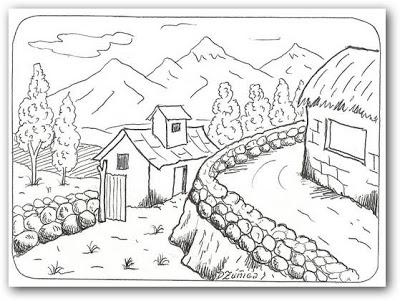 Dibujos de paisajes campestres para colorear