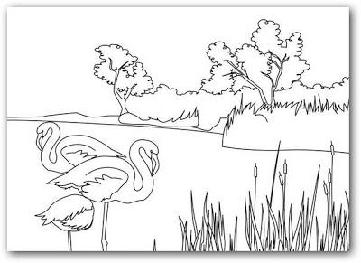 Dibujos de paisajes con flamencos para colorear