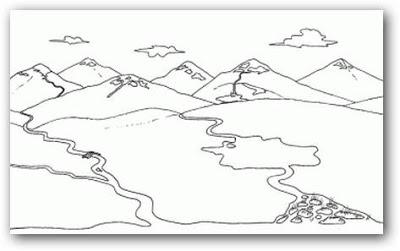 Dibujos de paisajes con montañas para colorear