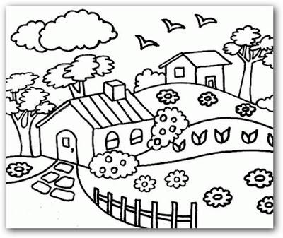 Dibujos de paisajes para niños para colorear