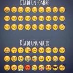 El día de un hombre y una mujer con emoticones de Whatsapp