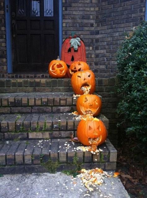 Fachadas de casas con calabazas para halloween