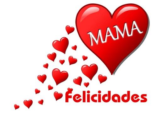 Felicidades mamá con corazones