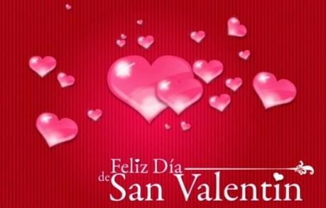 Feliz día de San Valentin con corazones