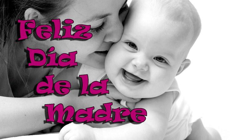 Feliz dia de la madre en blanco y negro