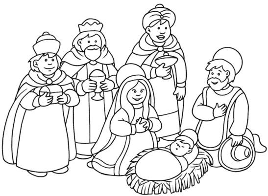 Imagenes de los reyes magos para colorear con el niño jesus
