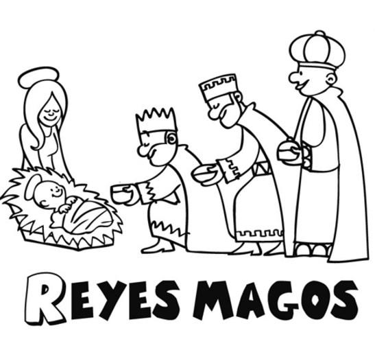 Imagenes de los reyes magos para colorear sencillas