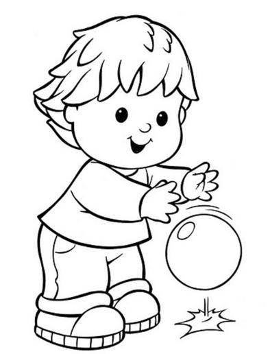 Imagenes de nenes jugando para colorear