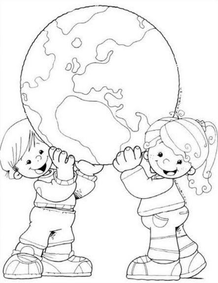 Niños cuidando el planeta para colorear