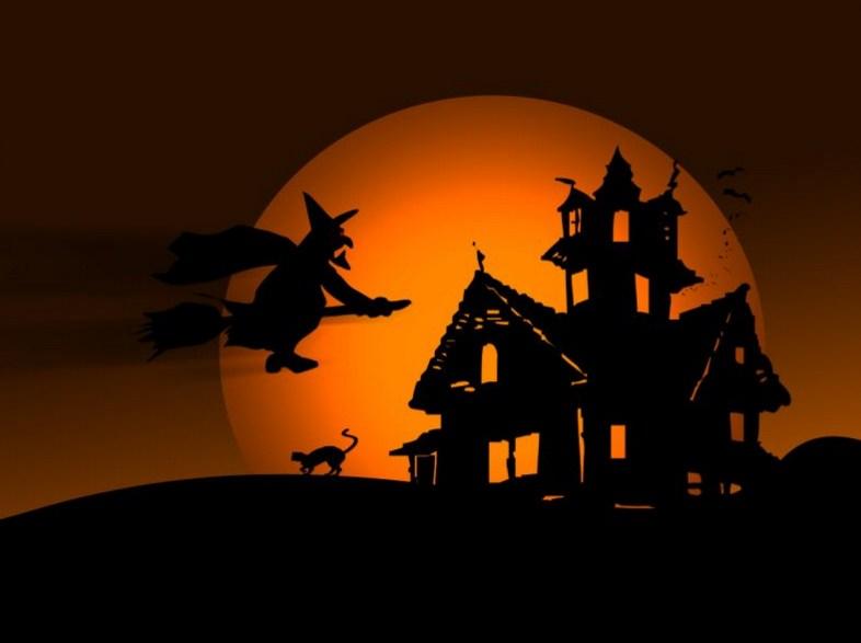 Postales para halloween con brujas