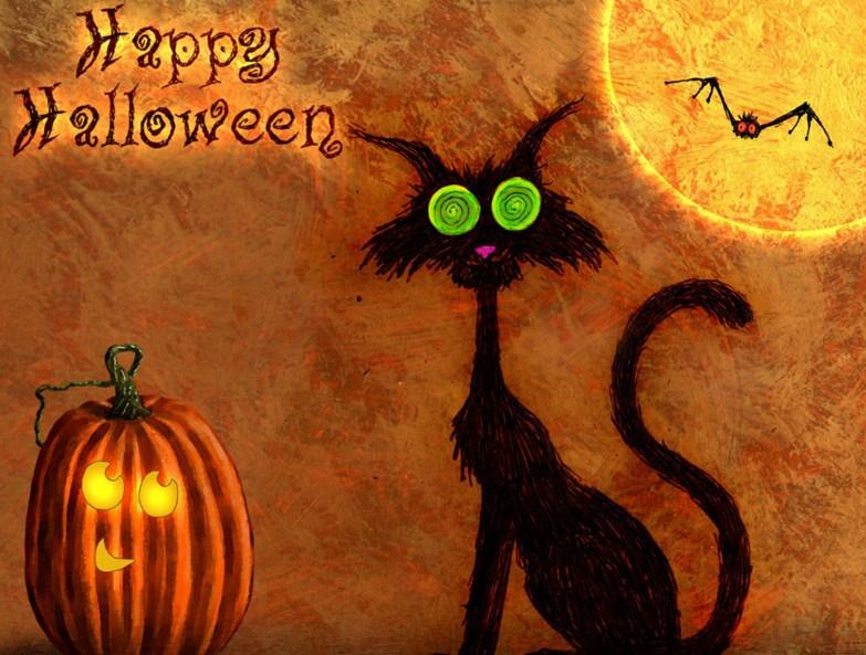 Postales para halloween con gatos negros