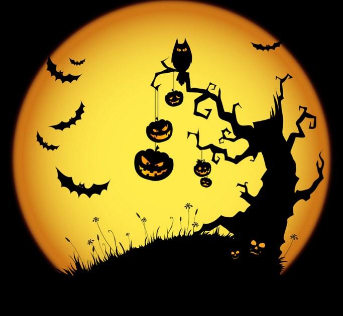 Postales para halloween con murcielagos