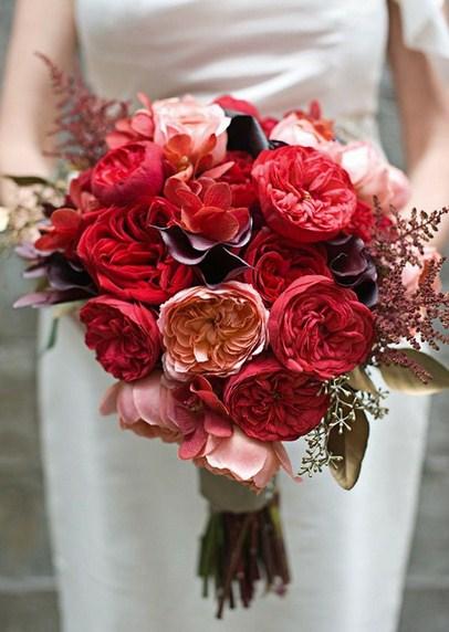Ramos de novia de rosas rojas
