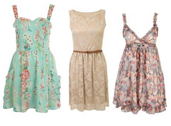 Vestidos casuales cortos floreados de diferentes estilos