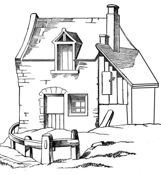 dibujos de casas con jardin