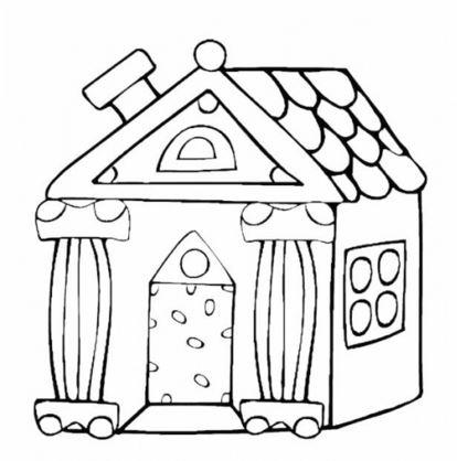 dibujos de casas para pintar con chimenea