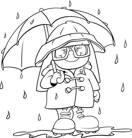 imágenes para colorear de invierno con lluvia