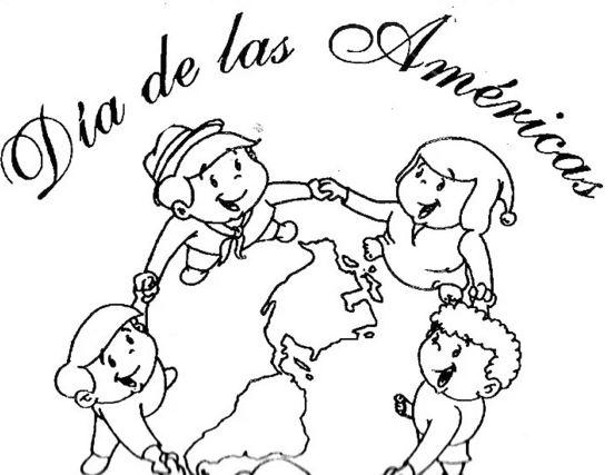 imagenes del dia de las americas para colorear para niños